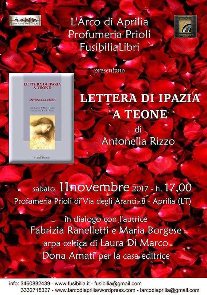 """""""Lettera di Ipazia…"""" la nuova opera di Antonella Rizzo presentata adAprilia"""